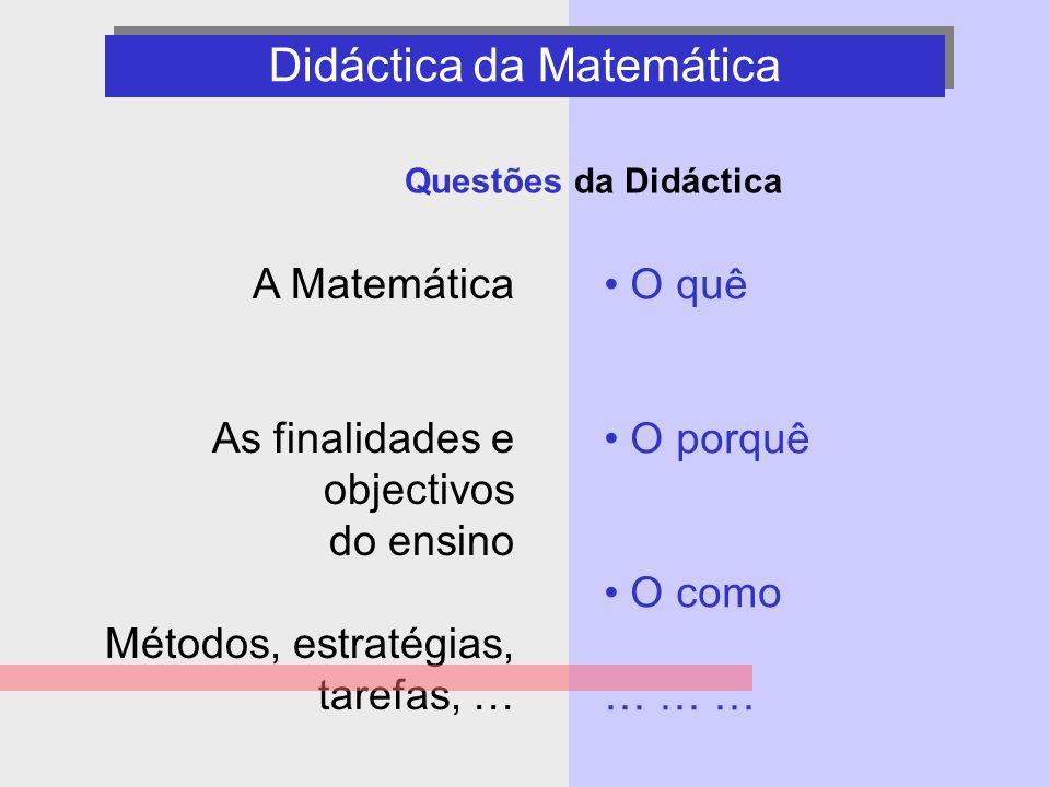 2 Didáctica da Matemática - questões - O quê O porquê O como … … … Questões da Didáctica A Matemática As finalidades e objectivos do ensino Métodos, e