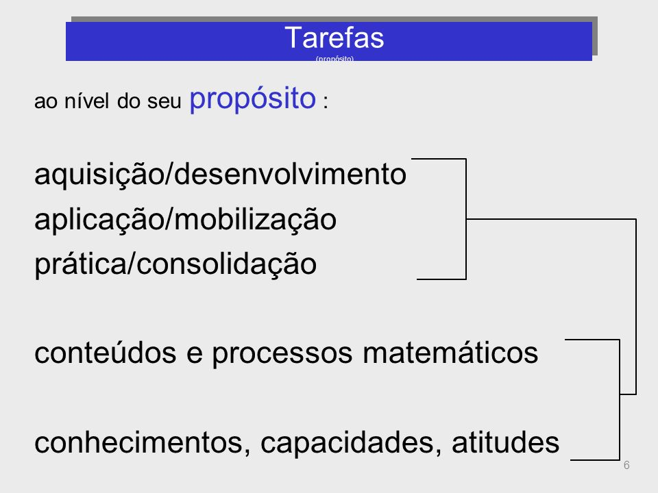 6 Tarefas (propósito) ao nível do seu propósito : aquisição/desenvolvimento aplicação/mobilização prática/consolidação conteúdos e processos matemátic