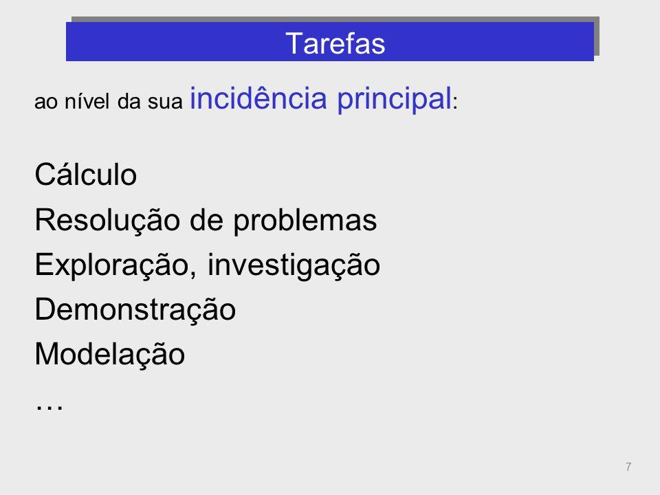 7 Tarefas (incidência principal) ao nível da sua incidência principal : Cálculo Resolução de problemas Exploração, investigação Demonstração Modelação