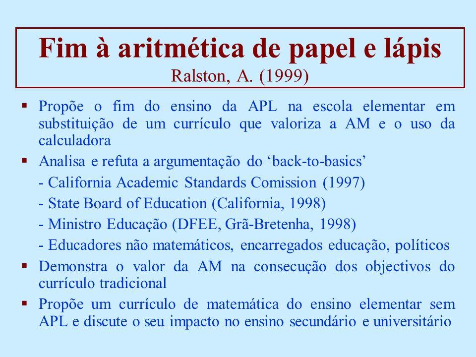 Fim à aritmética de papel e lápis Ralston, A.