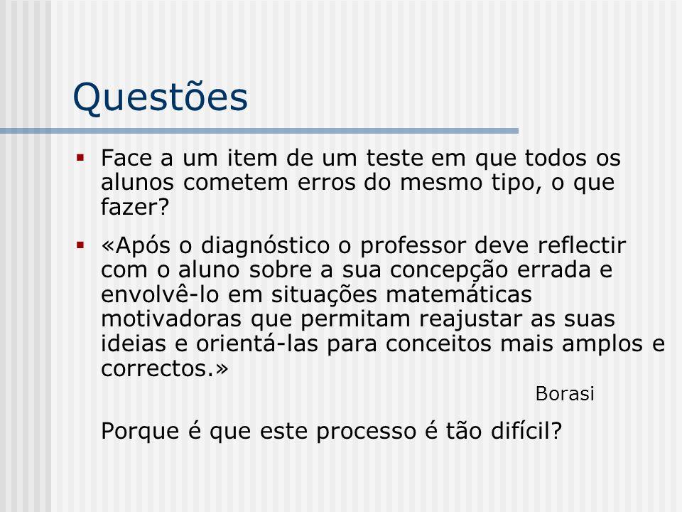 Questões Face a um item de um teste em que todos os alunos cometem erros do mesmo tipo, o que fazer? «Após o diagnóstico o professor deve reflectir co
