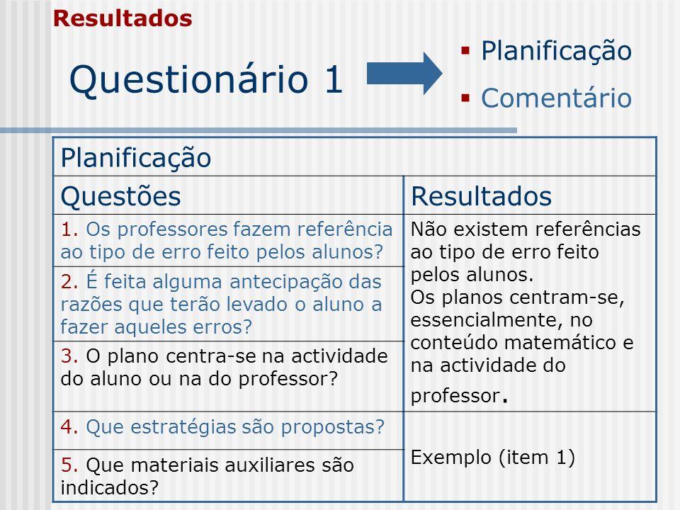 Questionário 1 Resultados Planificação QuestõesResultados 1. Os professores fazem referência ao tipo de erro feito pelos alunos? Não existem referênci