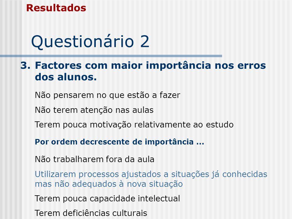 Questionário 2 Resultados 3.Factores com maior importância nos erros dos alunos. Não pensarem no que estão a fazer Não terem atenção nas aulas Terem p