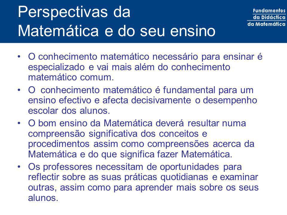 Perspectivas da Matemática e do seu ensino O conhecimento matemático necessário para ensinar é especializado e vai mais além do conhecimento matemátic