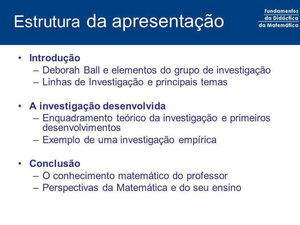 Estrutura da apresentação Introdução –Deborah Ball e elementos do grupo de investigação –Linhas de Investigação e principais temas A investigação dese