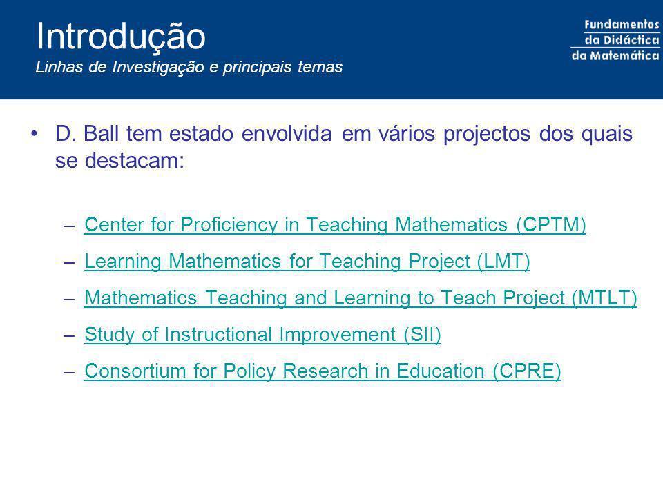 Introdução Linhas de Investigação e principais temas D. Ball tem estado envolvida em vários projectos dos quais se destacam: –Center for Proficiency i