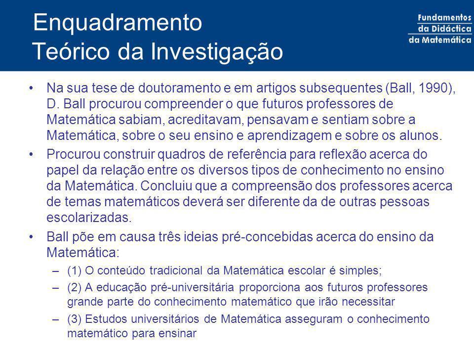 Enquadramento Teórico da Investigação Na sua tese de doutoramento e em artigos subsequentes (Ball, 1990), D. Ball procurou compreender o que futuros p