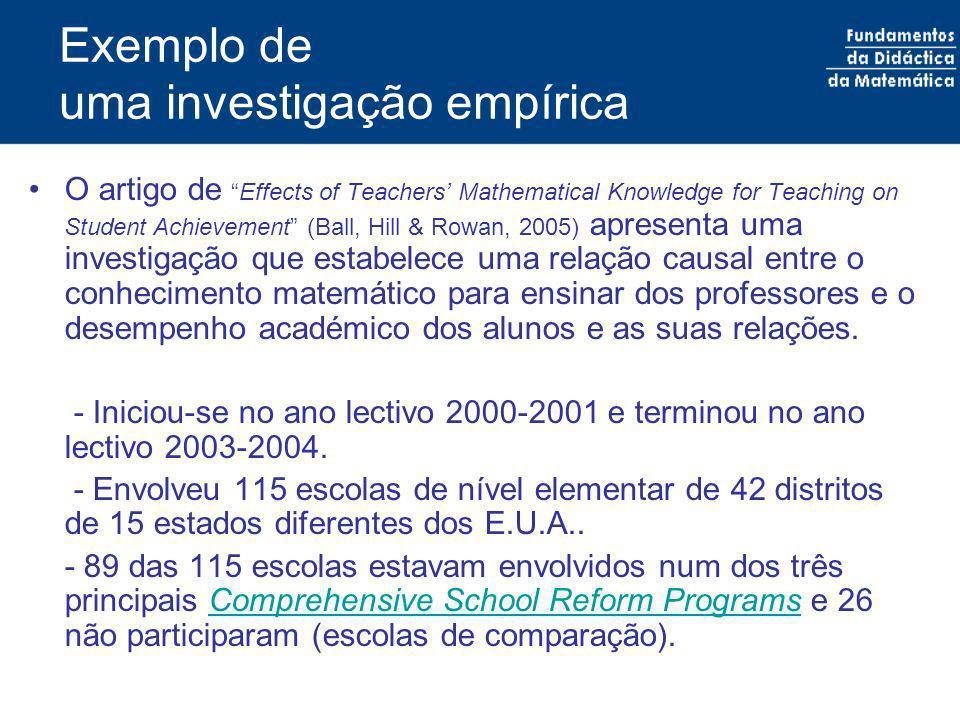 Exemplo de uma investigação empírica - Envolveu alunos do pré-escolar ao 5º ano de escolaridade.