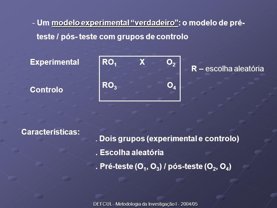 DEFCUL - Metodologia da Investigação I - 2004/05 modelo experimental verdadeiro - Um modelo experimental verdadeiro: o modelo de pré- teste / pós- tes