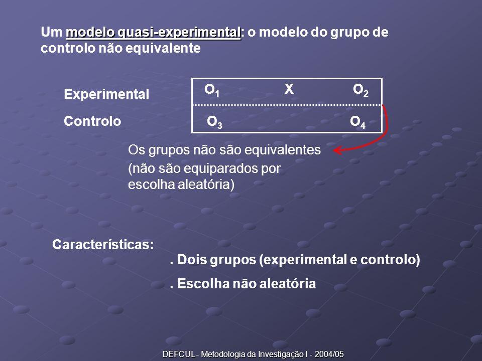 DEFCUL - Metodologia da Investigação I - 2004/05 modelo quasi-experimental Um modelo quasi-experimental: o modelo do grupo de controlo não equivalente