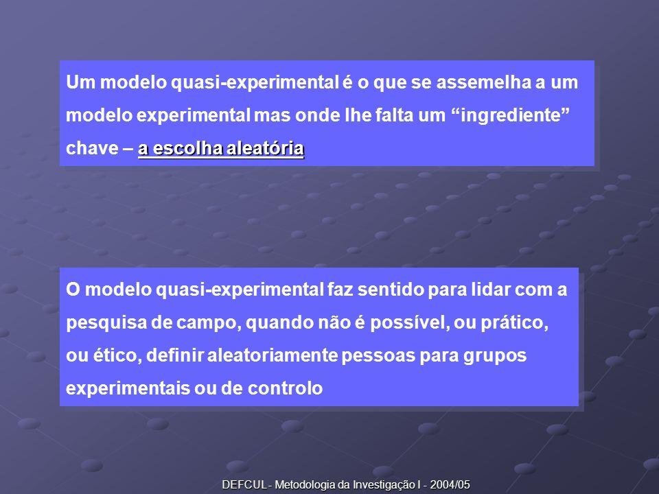 DEFCUL - Metodologia da Investigação I - 2004/05 a escolha aleatória Um modelo quasi-experimental é o que se assemelha a um modelo experimental mas on