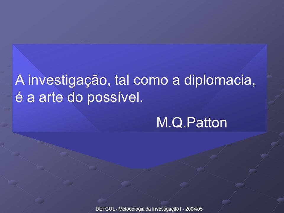 DEFCUL - Metodologia da Investigação I - 2004/05 A investigação, tal como a diplomacia, é a arte do possível. M.Q.Patton