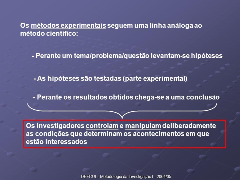 DEFCUL - Metodologia da Investigação I - 2004/05 Os métodos experimentais seguem uma linha análoga ao método científico: - Perante um tema/problema/qu