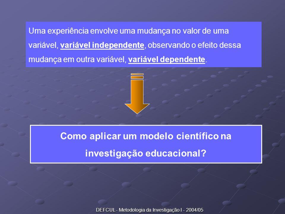 DEFCUL - Metodologia da Investigação I - 2004/05 Uma experiência envolve uma mudança no valor de uma variável, variável independente, observando o efe