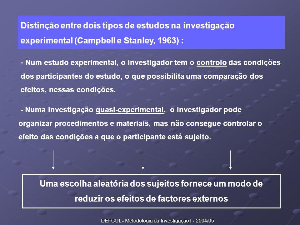 DEFCUL - Metodologia da Investigação I - 2004/05 Distinção entre dois tipos de estudos na investigação experimental (Campbell e Stanley, 1963) : - Num