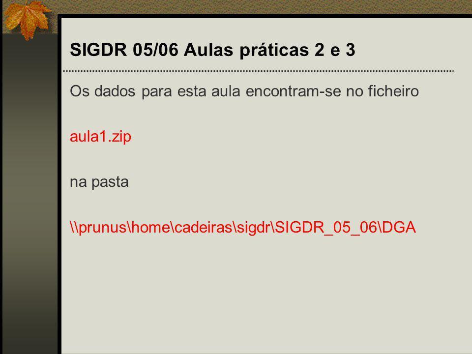 SIGDR 05/06 Aulas práticas 2 e 3 Os dados para esta aula encontram-se no ficheiro aula1.zip na pasta \\prunus\home\cadeiras\sigdr\SIGDR_05_06\DGA
