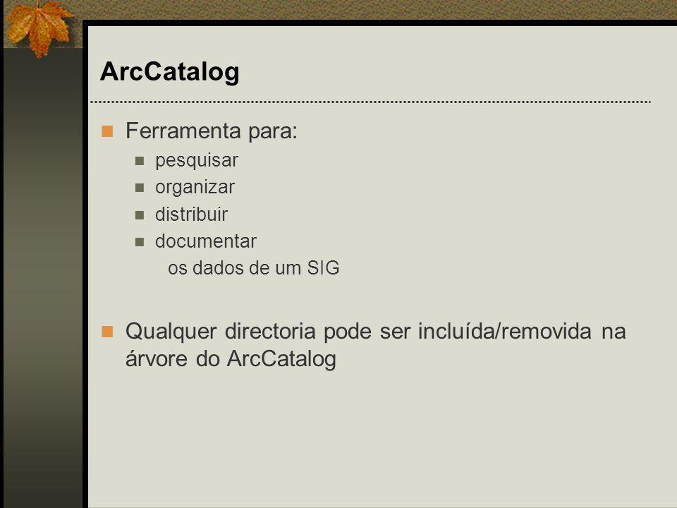ArcCatalog Ferramenta para: pesquisar organizar distribuir documentar os dados de um SIG Qualquer directoria pode ser incluída/removida na árvore do A