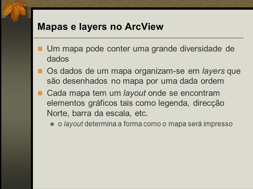 Mapas e layers no ArcView Um mapa pode conter uma grande diversidade de dados Os dados de um mapa organizam-se em layers que são desenhados no mapa po