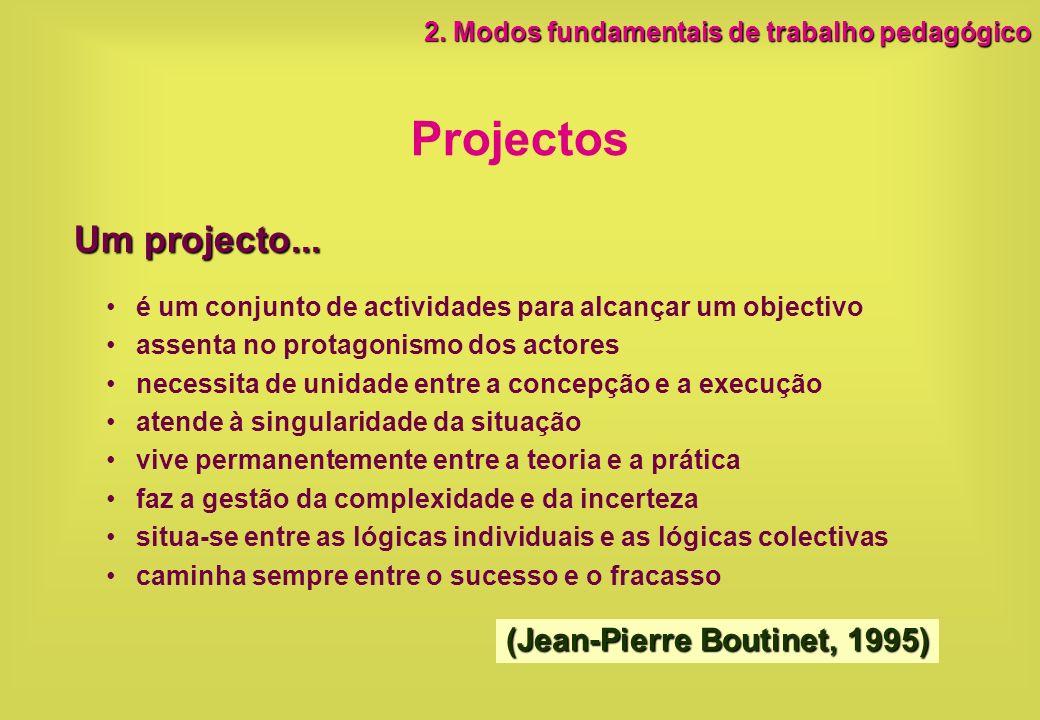 Projectos é um conjunto de actividades para alcançar um objectivo assenta no protagonismo dos actores necessita de unidade entre a concepção e a execu