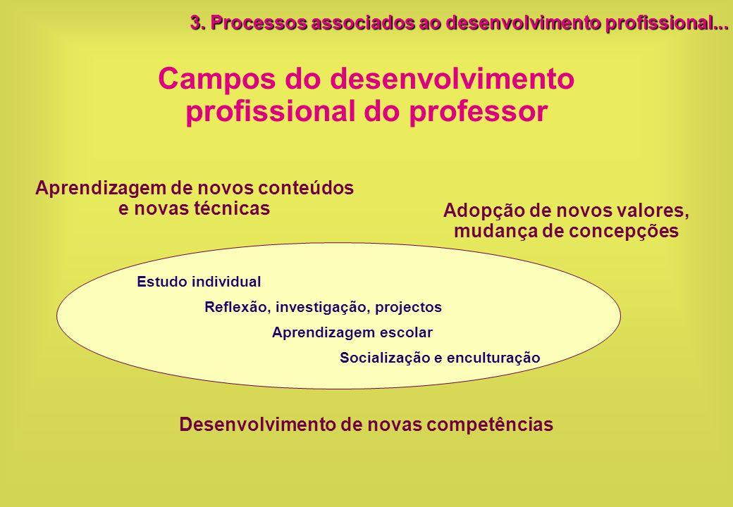 Campos do desenvolvimento profissional do professor Aprendizagem de novos conteúdos e novas técnicas Adopção de novos valores, mudança de concepções D