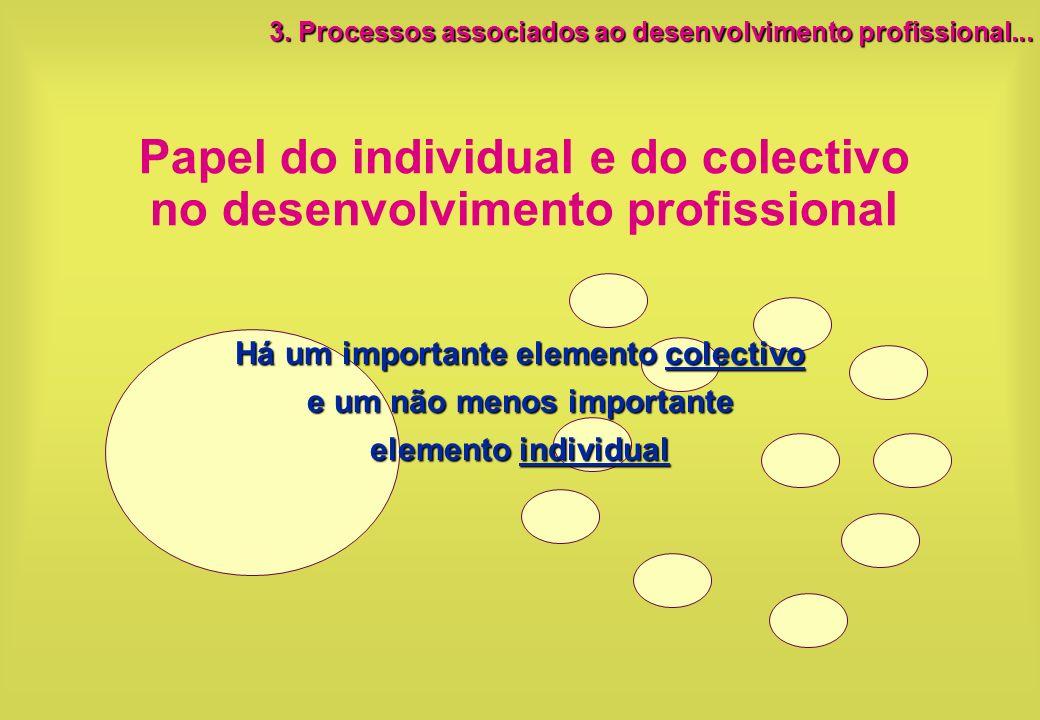 Papel do individual e do colectivo no desenvolvimento profissional Há um importante elemento colectivo e um não menos importante elemento individual 3