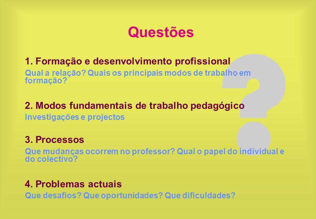 ? Questões 1. Formação e desenvolvimento profissional Qual a relação? Quais os principais modos de trabalho em formação? 2. Modos fundamentais de trab