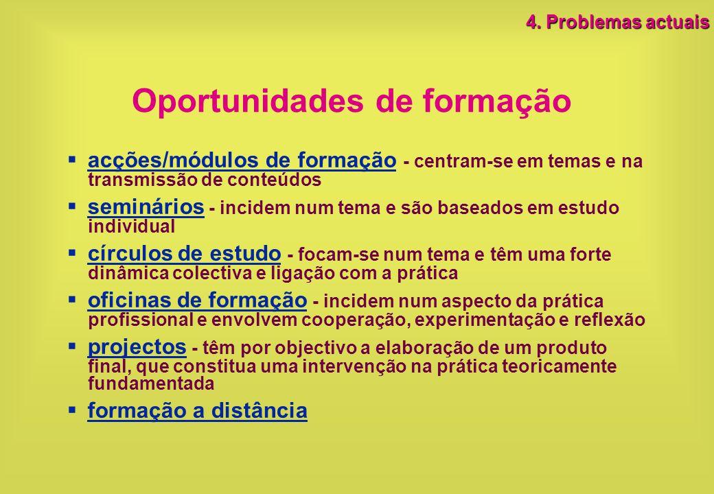 Oportunidades de formação acções/módulos de formação - centram-se em temas e na transmissão de conteúdos seminários - incidem num tema e são baseados