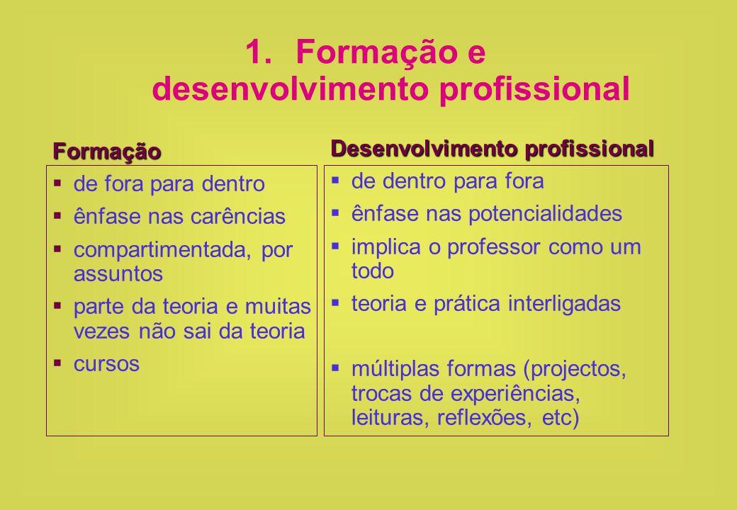 1.Formação e desenvolvimento profissional Formação de fora para dentro ênfase nas carências compartimentada, por assuntos parte da teoria e muitas vez