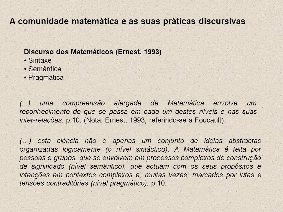A comunidade matemática e as suas práticas discursivas Discurso dos Matemáticos (Ernest, 1993) Sintaxe Semântica Pragmática (...) uma compreensão alar