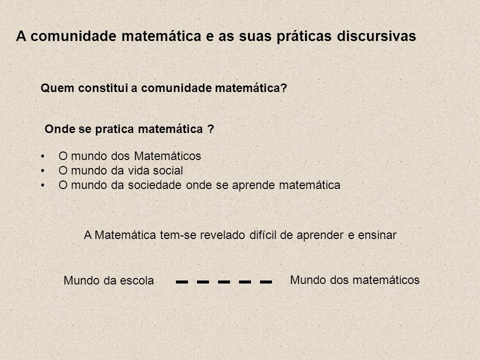 A comunidade matemática e as suas práticas discursivas Quem constitui a comunidade matemática? Onde se pratica matemática ? O mundo dos Matemáticos O