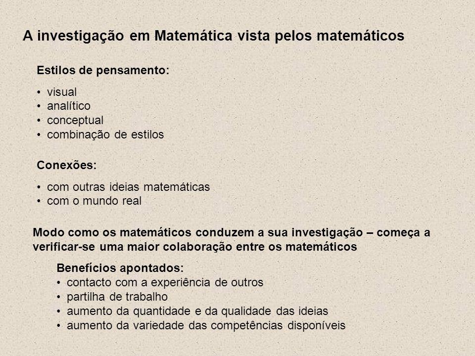 A investigação em Matemática vista pelos matemáticos Estilos de pensamento: visual analítico conceptual combinação de estilos Conexões: com outras ide