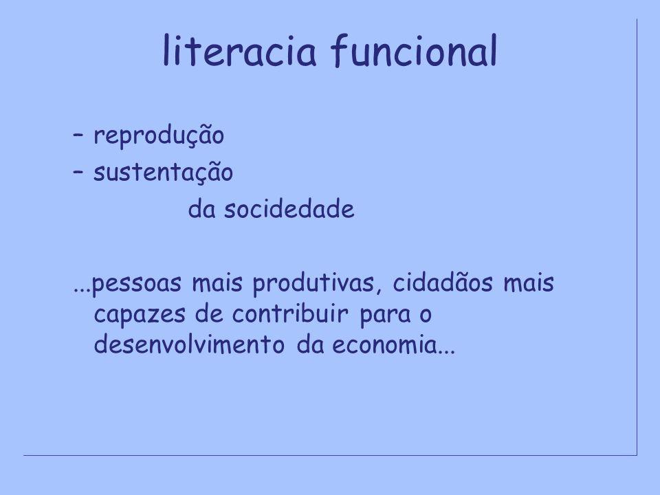 literacia funcional –reprodução –sustentação da socidedade...pessoas mais produtivas, cidadãos mais capazes de contribuir para o desenvolvimento da ec