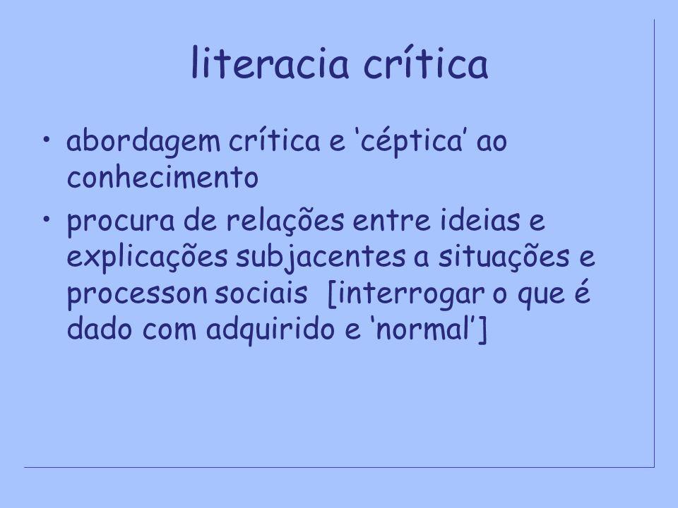 literacia crítica abordagem crítica e céptica ao conhecimento procura de relações entre ideias e explicações subjacentes a situações e processon socia