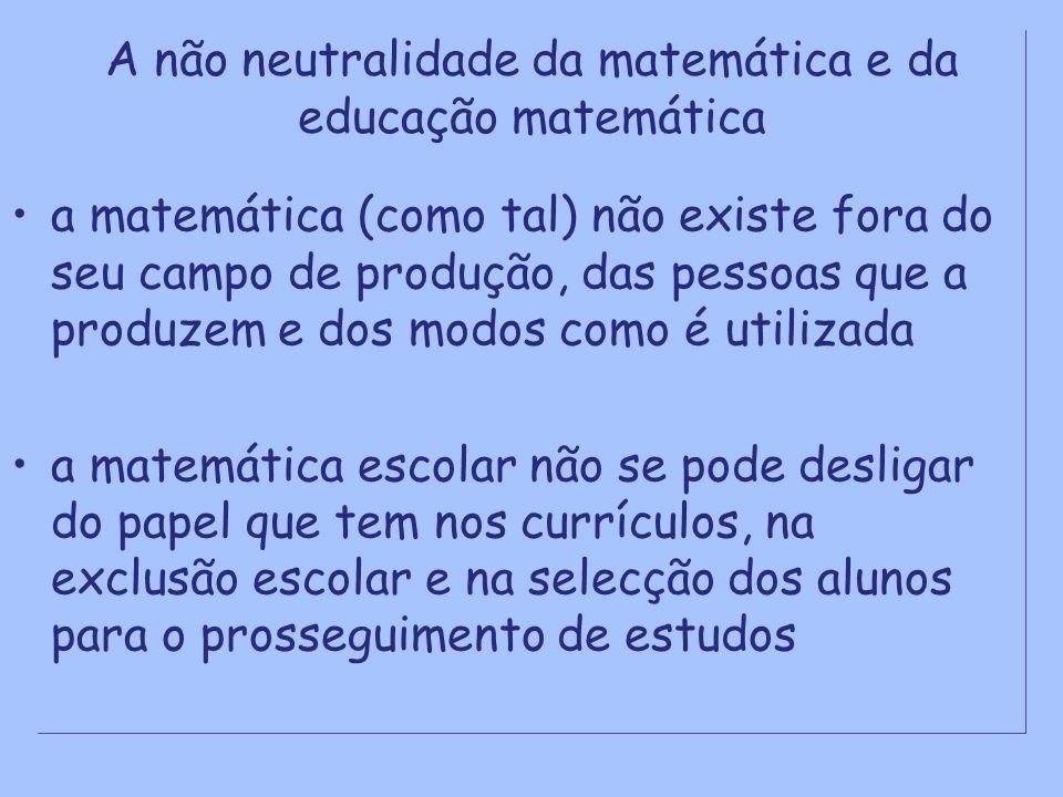 A não neutralidade da matemática e da educação matemática a matemática (como tal) não existe fora do seu campo de produção, das pessoas que a produzem