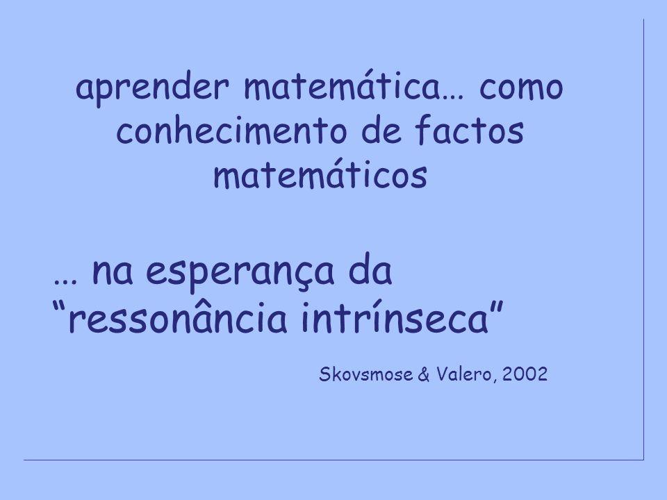 aprender matemática… como conhecimento de factos matemáticos … na esperança da ressonância intrínseca Skovsmose & Valero, 2002