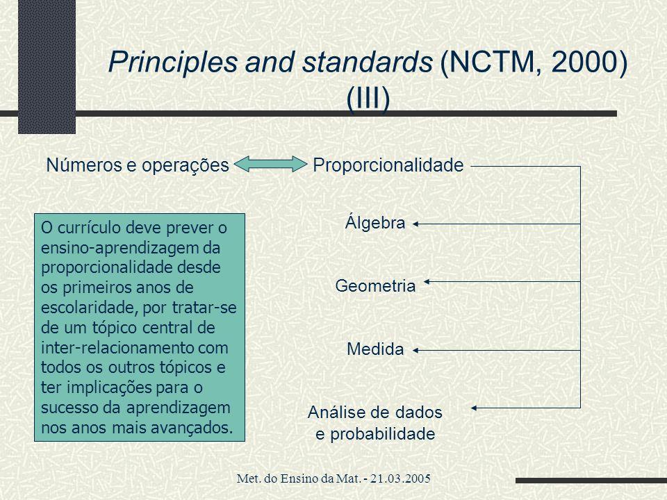 Met. do Ensino da Mat. - 21.03.2005 Principles and standards (NCTM, 2000) (III) Números e operações Proporcionalidade Álgebra Geometria Medida Análise