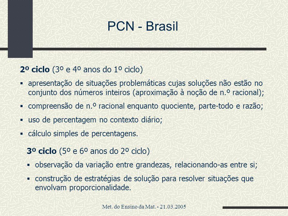 Met. do Ensino da Mat. - 21.03.2005 PCN - Brasil 2º ciclo (3º e 4º anos do 1º ciclo) apresentação de situações problemáticas cujas soluções não estão
