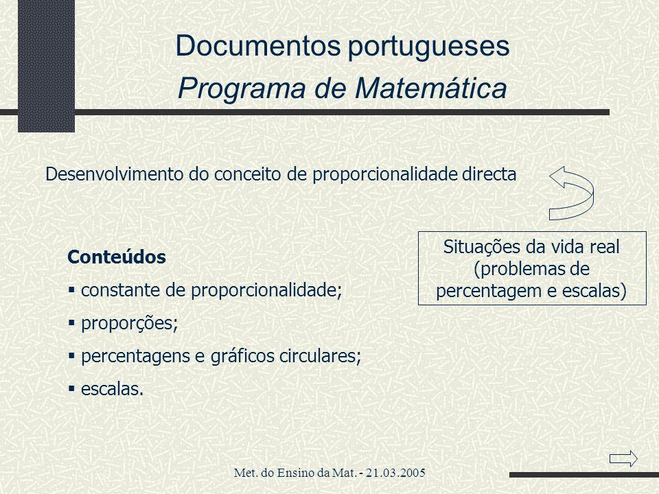 Met. do Ensino da Mat. - 21.03.2005 Documentos portugueses Programa de Matemática Desenvolvimento do conceito de proporcionalidade directa Situações d