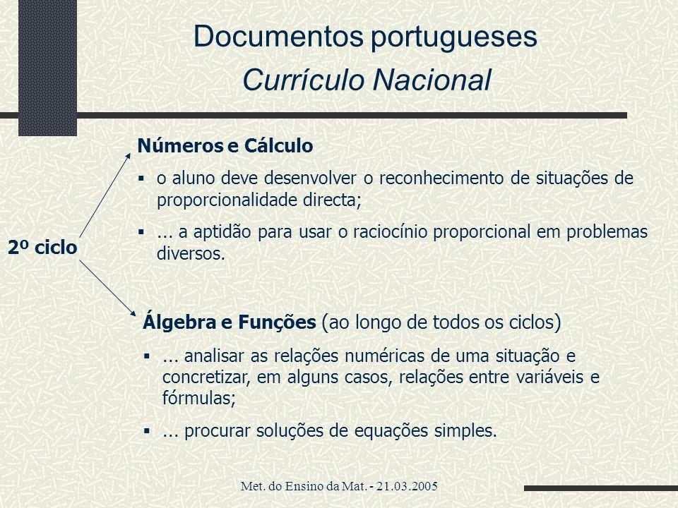 Met. do Ensino da Mat. - 21.03.2005 Documentos portugueses Currículo Nacional Números e Cálculo o aluno deve desenvolver o reconhecimento de situações