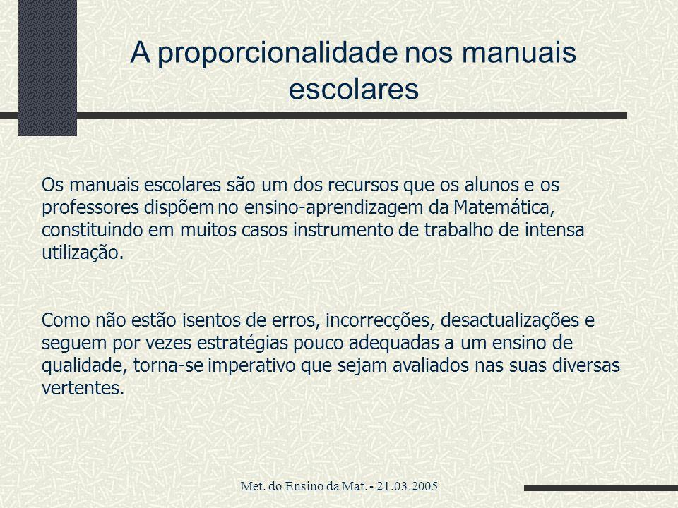 Met. do Ensino da Mat. - 21.03.2005 A proporcionalidade nos manuais escolares Os manuais escolares são um dos recursos que os alunos e os professores