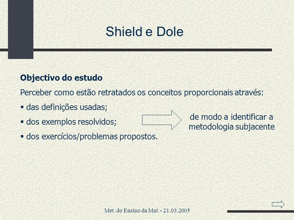 Met. do Ensino da Mat. - 21.03.2005 Shield e Dole Objectivo do estudo Perceber como estão retratados os conceitos proporcionais através: das definiçõe