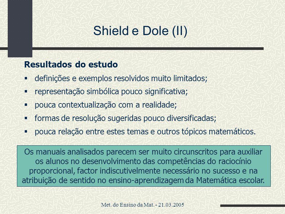 Met. do Ensino da Mat. - 21.03.2005 Resultados do estudo definições e exemplos resolvidos muito limitados; representação simbólica pouco significativa