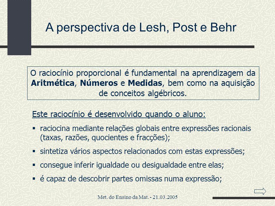 Met. do Ensino da Mat. - 21.03.2005 A perspectiva de Lesh, Post e Behr O raciocínio proporcional é fundamental na aprendizagem da Aritmética, Números