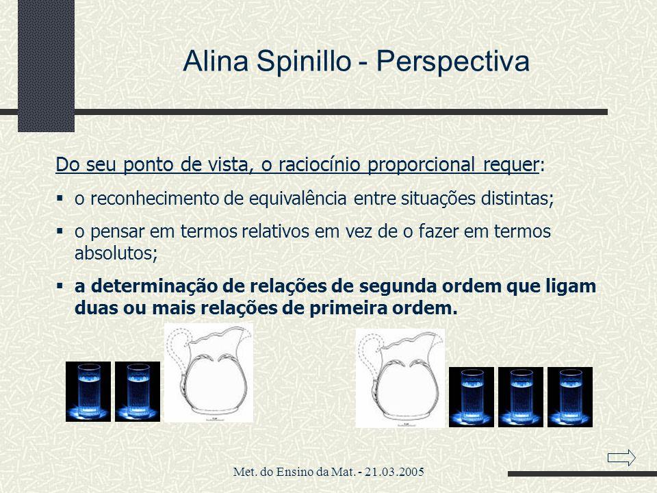 Met. do Ensino da Mat. - 21.03.2005 Alina Spinillo - Perspectiva Do seu ponto de vista, o raciocínio proporcional requer : o reconhecimento de equival
