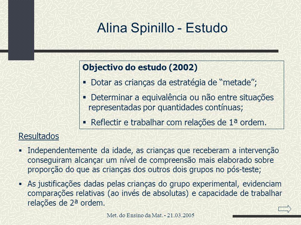 Met. do Ensino da Mat. - 21.03.2005 Alina Spinillo - Estudo Objectivo do estudo (2002) Dotar as crianças da estratégia de metade; Determinar a equival