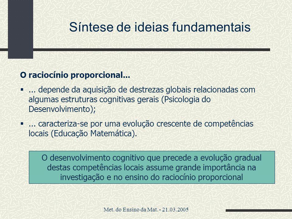 Met. do Ensino da Mat. - 21.03.2005 Síntese de ideias fundamentais O raciocínio proporcional...... depende da aquisição de destrezas globais relaciona