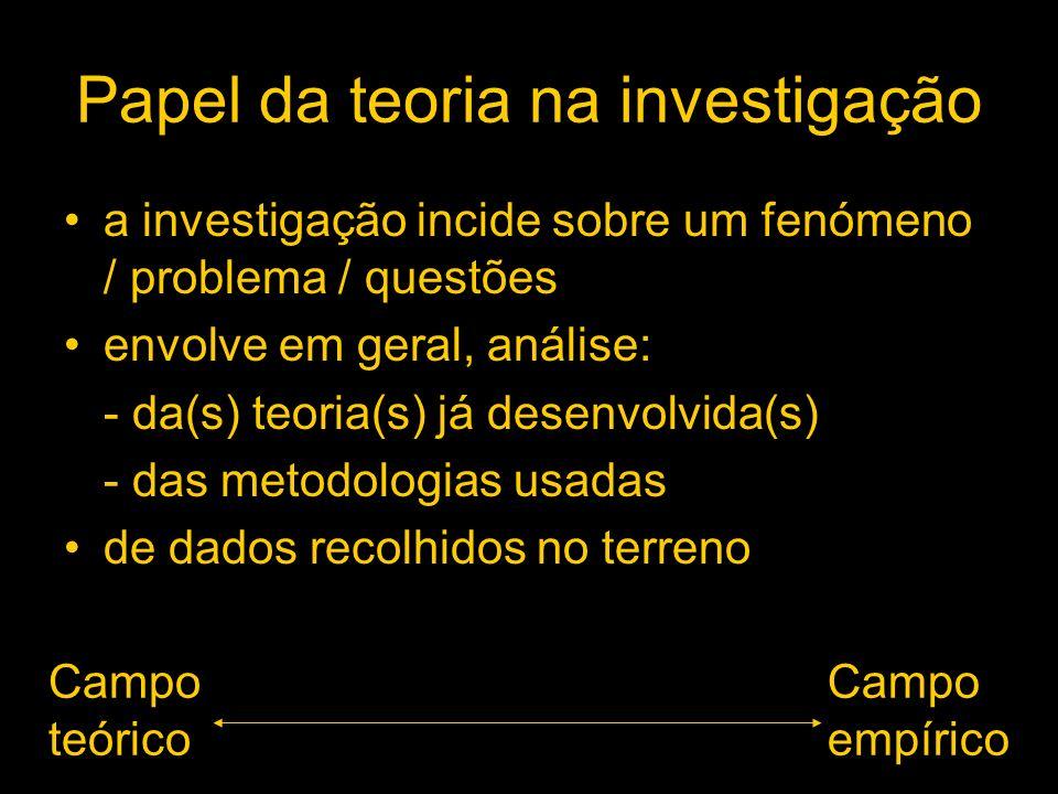 Papel da teoria na investigação a investigação incide sobre um fenómeno / problema / questões envolve em geral, análise: - da(s) teoria(s) já desenvol
