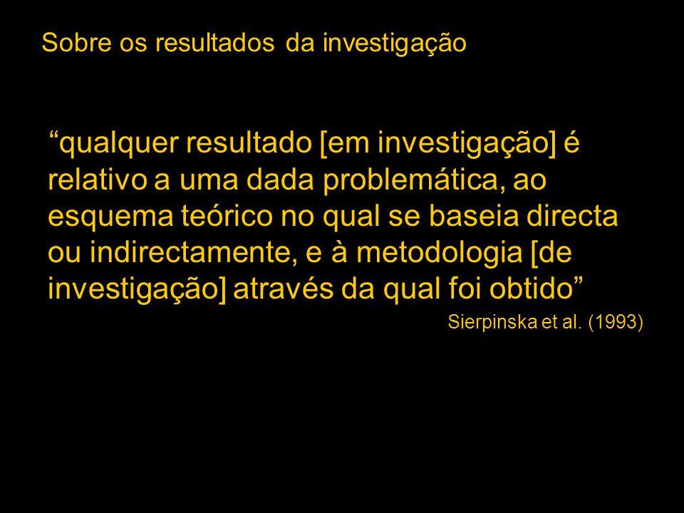 Sobre os resultados da investigação qualquer resultado [em investigação] é relativo a uma dada problemática, ao esquema teórico no qual se baseia dire