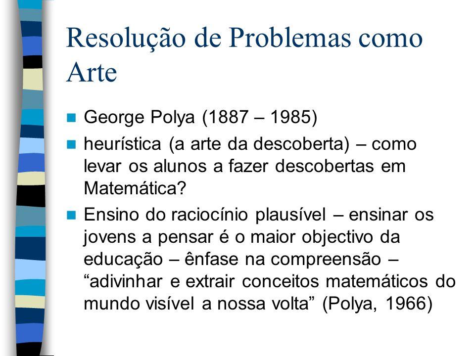Resolução de Problemas como Arte George Polya (1887 – 1985) heurística (a arte da descoberta) – como levar os alunos a fazer descobertas em Matemática