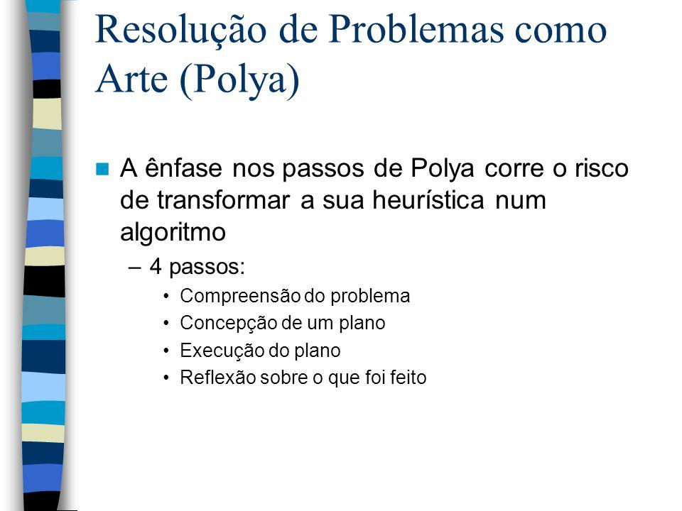 Resolução de Problemas como Arte (Polya) A ênfase nos passos de Polya corre o risco de transformar a sua heurística num algoritmo –4 passos: Compreens